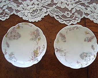 H & G France Haviland Limoge Matching Pair of Antique Butter Pats Gray Florals
