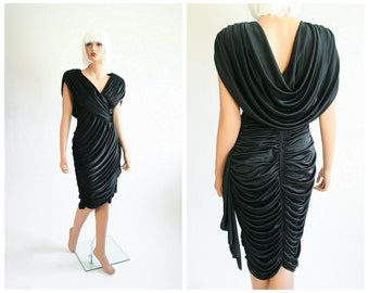 70s Draped Ruched Cocktail Dress 1970s Slinky Grecian Gown 1980s Black Party Dress 80s Sequin Evening Glam Greek Goddess Cocoon Small Medium