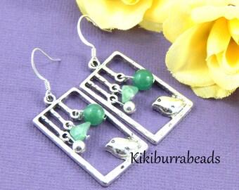 Bird Earrings, Silver Bird Earrings, Green Jade Earrings