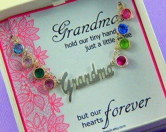 Christmas Sale Gift For Grandma, Grandmother's Necklace, Birthstone Necklace, Sterling Silver, Gift Boxed Jewelry