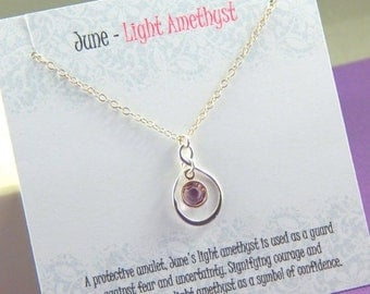 Mothers Day Sale June Birthstone Necklace, Personalized infinity necklace, Light Amethyst, birthstone jewelry, gift boxed necklace