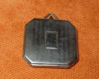 Carl Art Sterling Silver Striped Locket Pendant Initials LMI Two Picture