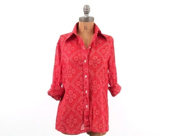 HOLIDAY SALE vintage 70s PAPER Thin red Bandana blouse S-M