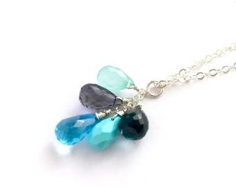 Blue and Violet Gemstone Necklace. Turquoise, Sapphire, Ocean Blue Chalcedony Iolite and Topaz Sterling Silver Necklace