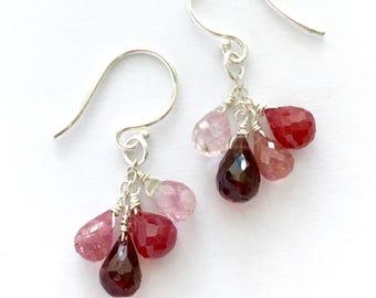 Red Ruby Garnet and Pink Tourmaline Earrings. Genuine Red Ruby, Pink Tourmaline, Garnet and Sterling Silver Earrings.