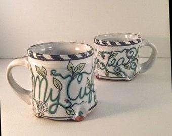 Majolica pottery coffee mug - My Cup o tea - ceramic tea mug - artist Karen Baker - leaves and vines - nature inspired