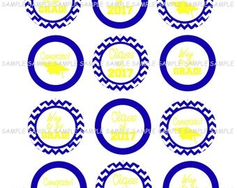 INSTANT DOWNLOAD...Blue and Gold Graduation 2017.... 2 Inch Circle Image Collage for Cupcake Toppers