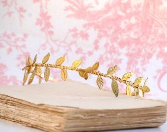 GOLD Leaf Headband  Delicate Golden Leaf Wedding Grecian Romantic Bridal Gold Woodland Garden