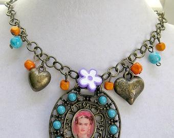 Frida Kahlo necklace Pendant unique design collector dia de los muertos day of the dead altered  art