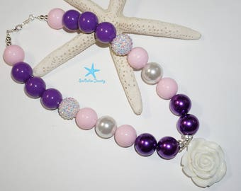 Inspired Repunzel Bubble Gum Necklace, chunky jewelry, children Necklace, Purple, pink and white, photo shoots props, 1st birthdays