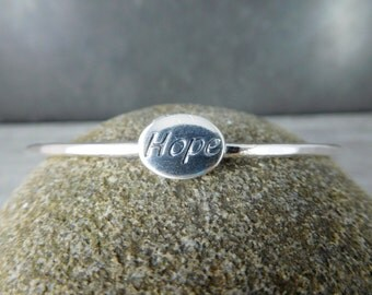 Hope Bangle Bracelet, Inspirational Jewelry, Sterling Silver Bracelet, Friendship Bracelet, Girl Friend Bracelet, Simple Message Jewelry