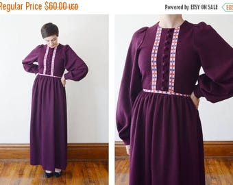 SPRING CLEANING SALE 1970s Burgundy Knit Maxi Dress with Bishop Sleeves - S