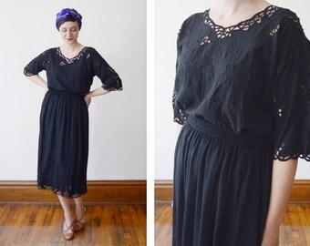 Black 80s Cutwork Blouse and Skirt Set - M/L