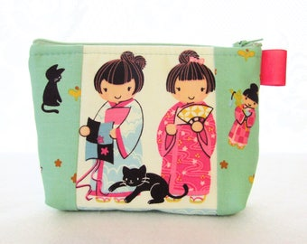 Kawaii Japanese Girls Cats Cosmetic Bag Fabric Zipper Pouch Makeup Bag Alexander Henry Fabric Gadget Pouch Indochine A Chan Turquoise Pink