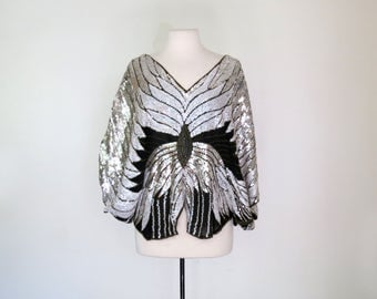 SILVER BUTTERFLY // sequined and beaded batwing disco blouse