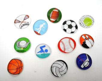 large SPORTS SET magnets or push pins - 2017 perpetual calendar, soccer, football, basketball, athletic, high-school, baseball,swimming,golf