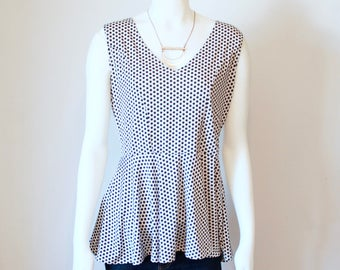 Polka Dot Fabric Tank Top, Black and White Tank Top, Peplum Tops for Women, Peplum Tank Top, Polka Dot Skirt, Polka Dots, Heidi and Seek
