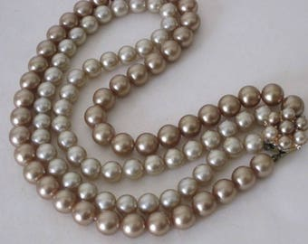vintage Gold and Platinum Glass Pearl necklace