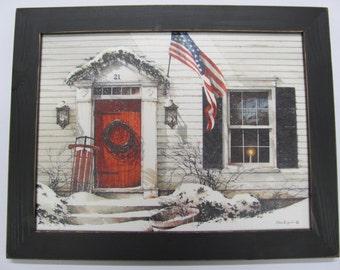 Winter Wall Decor,Patriotic, Sled, Christmas Wall Decor,181/2x141/2, John Rossini,Handmade Distressed Frame,Main Street