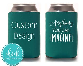 Create Your Own Custom Can Coolie, Wedding Favors Fun Wedding Party Gifts Wedding Anniversary Party Gifts Custom Beverage Can Cooler