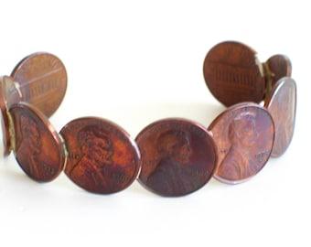 Vintage Copper Pennies Cuff Bracelet, 1960's-1970's Pennies, Vintage Copper Bracelet, Penny Jewelry, Coin Bracelet, Penny Bracelet