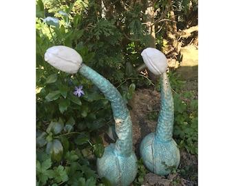 Ceramic, Organic pods, garden sculptures, handmade pottery