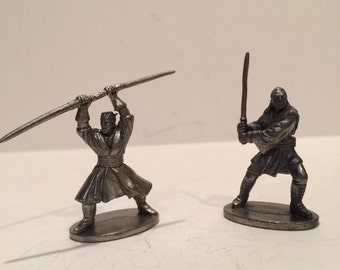 Warrior figures, Doll House, Reconstruction of Scene, Pewter Figurines - 2 pieces