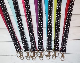 Lanyard ID Badge Holder - white confetti dots black - solid colors - Design your own - Lobster clasp and key ring