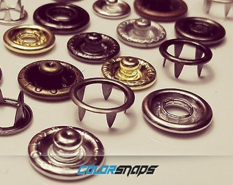 BRASS SNAPS • Size 16 • Size 14 • Size 12 • 13/32 • 3/8 • 9/32 • Ring • Prong • No Sew • Popper • Gold • Black • Bronze • Antique • Silver