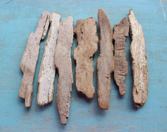 Long Flat Sided Bark Driftwood Pieces , DIY Beach Wedding , DIY Driftwood Signs / Table Numbers , Rustic Wedding Decoration BK7