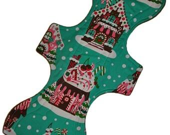 Super Hemp Core- Gingerbread Houses Reusable Cloth Goddess XL/Postpartum Pad- WindPro Fleece- 16.5 Inches