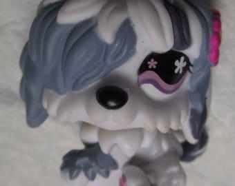 Littlest Pet Shop #921 Sheepdog Dog Grey & White Pink Flower LPS dollhoues toy miniature vintage