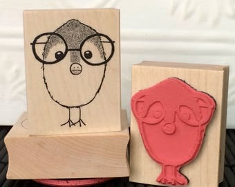 Nerd Bird rubber stamp from oldislandstamps