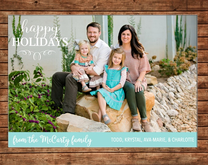 Photo Picture Christmas happy holidays teal turquoise simple modern - Digital File
