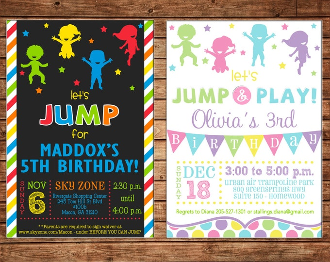 Boy or Girl Little Kid Trampoline Jump Bounce House Birthday Invitation - DIGITAL FILE