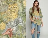 Lion Shirt Safari Shirt Jungle Animal LEOPARD Print Tiger ZEBRA Giraffe 80s Grunge Top Africa Print Blouse Button Up Large