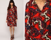 Mod Dress 70s Floral Print Mini Boho Hippie Psychedelic Scarf Print 60s Shift Vintage 1970s Tunic Long Sleeve Bohemian Red Extra Small xs