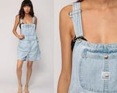 Denim Overall Shorts Jean Shortalls Bib Playsuit 90s Grunge Jean Pocket Suspender Light Blue Normcore Woman 1990s Vintage Medium