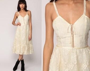 Cream Lace Dress 1970s Gunne Sax Dress Bohemian Midi 70s Hippie Boho Sundress Corset Lace Up Sleeveless Tiered Sun Extra Small xs