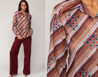 Striped Blouse 70s Shirt Long Sleeve Top Geometric Op Art Print Boho Disco Nerd Hipster Button Up 1970s Collared Brown Medium