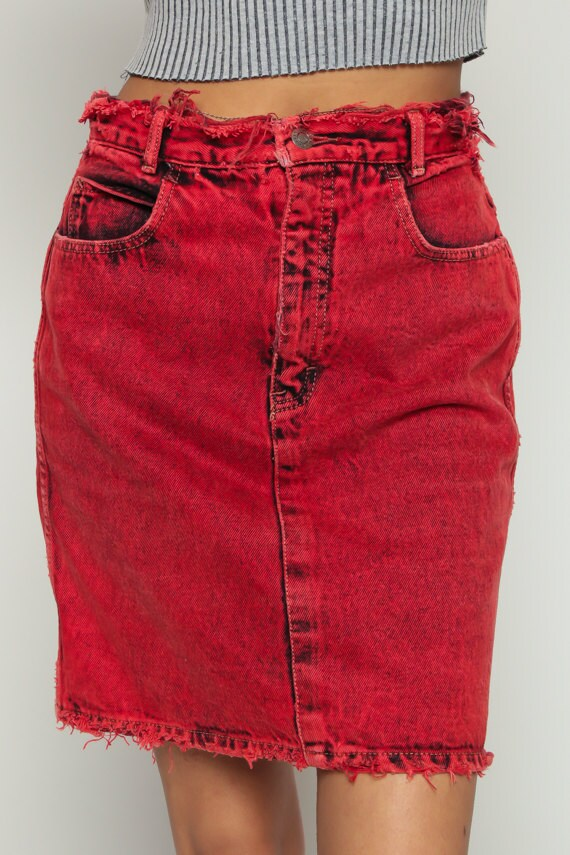Calvin Klein Skirt Jean Skirt Denim Mini Skirt Red ACID Wash
