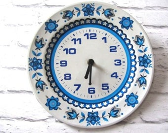 Retro 1960s Johnson Brothers blue white metal wall clock 60s vintage kitsch