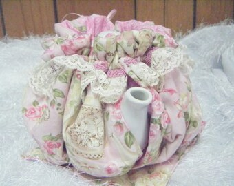 Teapot Cozy Soft Pastel Pink with Tea Cups and Saucers Size 3-4 Cup Tea Pot