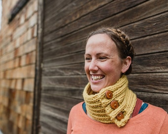 Handknit Wool Cowl : Comfort Cowl - 100% Wool Handknit Cowl with Wooden Buttons- Yellow Wool Cowl with Yew Wood Buttons
