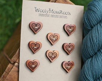 8 Red Cedar Heart Buttons- Red Cedar Wood- Wooden Buttons- Eco Craft Supplies, Eco Knitting Supplies, Eco Sewing Supplies