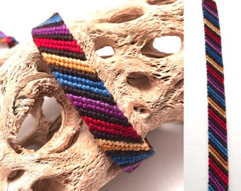 Friendship bracelet - striped - candy stripe pattern - red - blue - purple - braided - woven - macrame - handmade - knotted - string