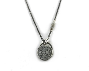 Harvest Moon Necklace in Silver with Diamond Stars