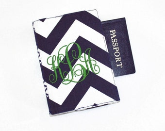 Chevrons Personalized Passport Cover with Velcro Closure - Your name or monogram, Choose from FIVE Fabrics