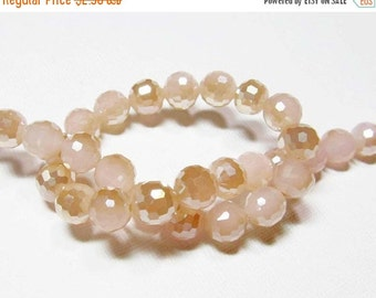 LOOSE Glass Beads - Glass Crystal Beads - 8mm Faceted Round - Opaque Pink with Cream Pearl (6 beads) - gla1018