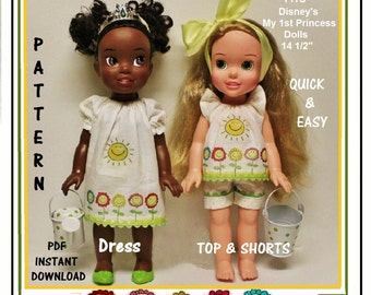 Sunshine Dress and Top with Shorts Outfit Pattern Tutorial for Disney My First Princess Toddler Dolls